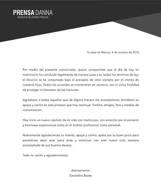 Geraldine Bazán y Gabriel Soto formalmente divorciados