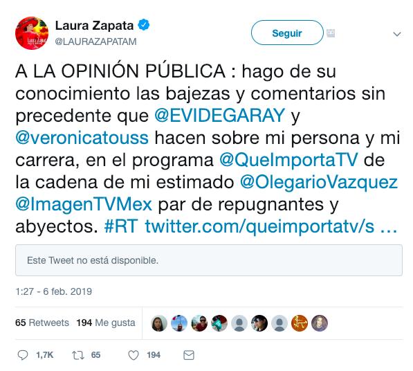 Eduardo Videgaray y Laura Zapata se hacen de palabras por comentarios contra Yalitza