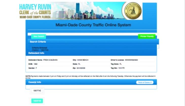 Ficha de detención. Foto: Miami-Dade County Criminal Justice
