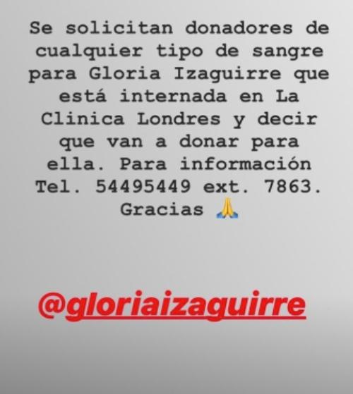 Gloria Izaguirre. Foto: Instagram