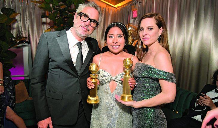 Alfonso Cuarón, Yalitza Aparicio y Marina de Tavira. Foto: Getty Images