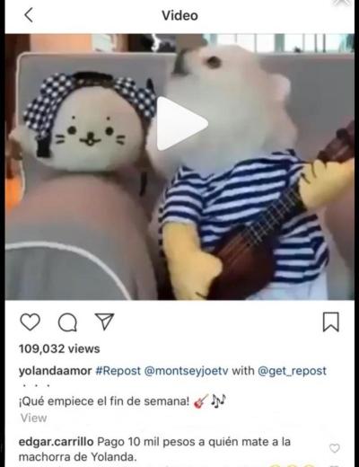 Amenazas a Yolanda Andrade. Foto: Instagram Yolanda Andrade