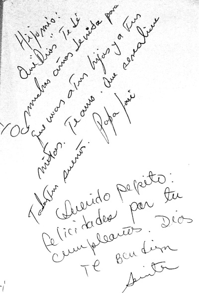 DE SU PUÑO Y LETRA. José José y Sarita entregaron a José Joel estos detalles resguardados en el archivo fotográfico de TVyNovelas.