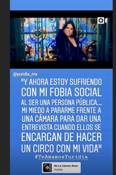 Captura de pantalla, Instagram Stories @yuridia_mx