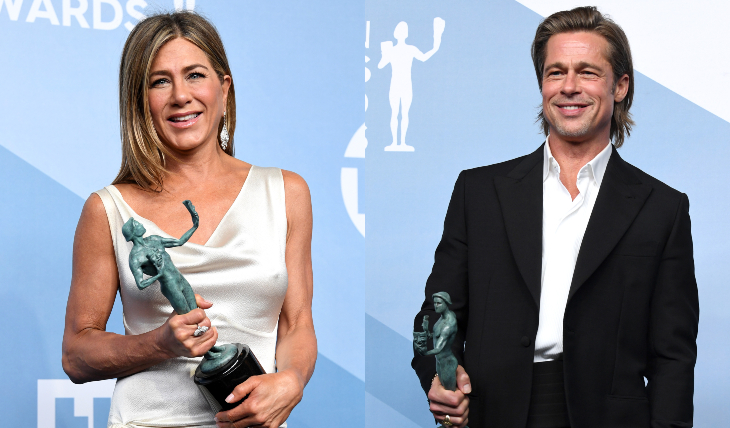Jennifer Aniston y Brad Pitt con su premio SAG. Fotos: Getty Images