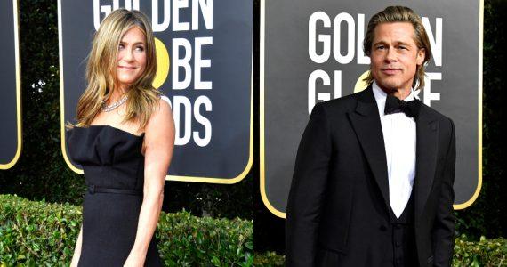 Jennifer Aniston, Brad Pitt en los Globos de Oro 2020. Fotos: Getty Images