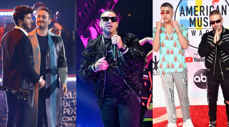 Sebastián Yatra/Reik, Daddy Yankee, Badd Bunny/J Balvin. Fotos: Getty Images