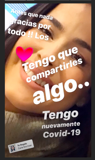 A poco de estar recuperada, Danna García vuelve a contraer COVID-19