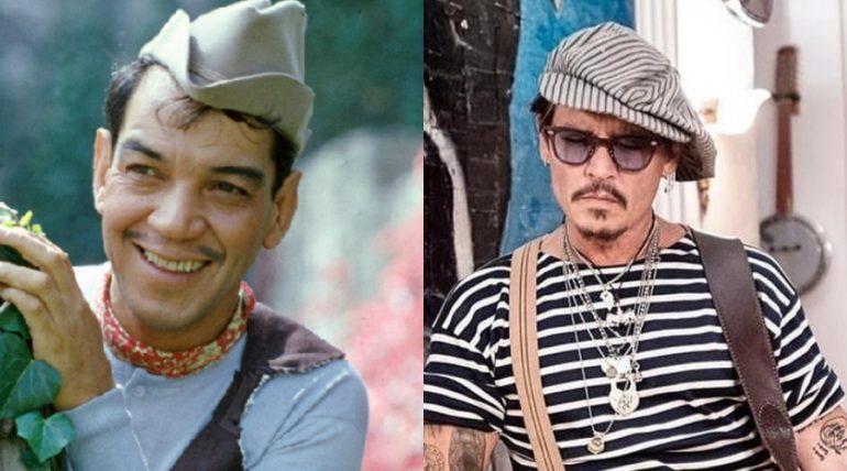 Mario Moreno 'Cantinflas' y Johnny Depp. Fotos: Archivo / Instagram