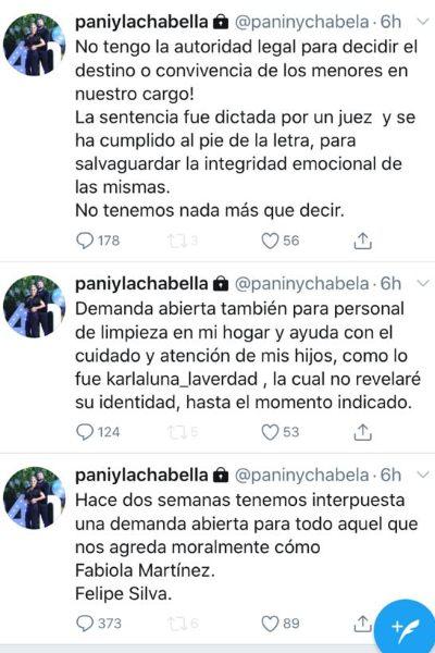 Tuits de Karla Panini. Captura de pantalla