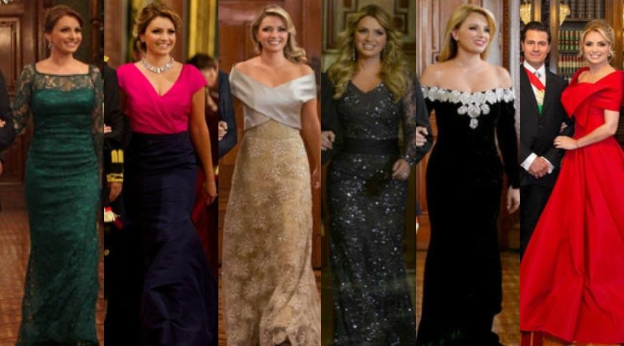 Para recordar: Los vestidos de Angélica Rivera en el Grito. Foto; Archivo