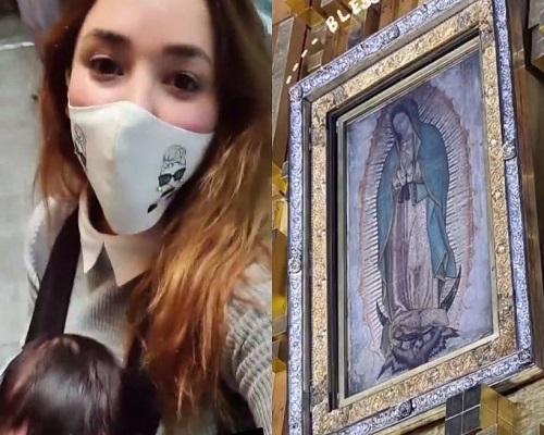 Sherlyn y su bebé de tres meses visitan la Basílica de Guadalupe. Foto: Archivo
