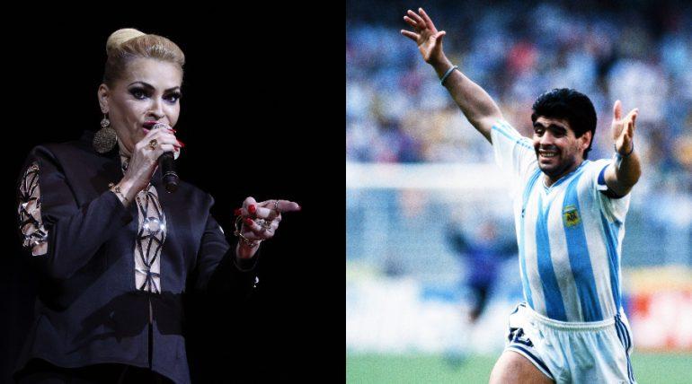 """El día que Rocío Banquells le cantó a Maradona en """"Siempre en domingo"""". Foto: Getty Images"""