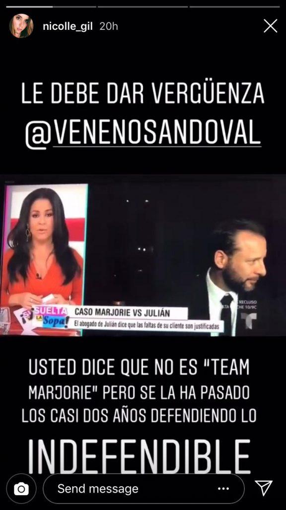 Hija de Julián Gil explota en contra de Carolina Sandoval