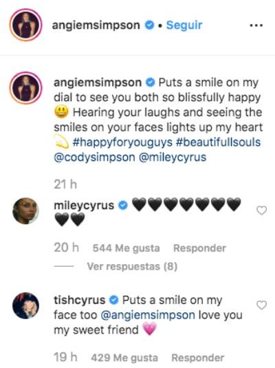Mensaje de la suegra de Miley Cyrus. Foto: Instagram